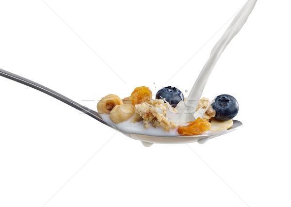 朝食用シリアル スプーン ミルク 孤立した 白 ストックフォト © goir