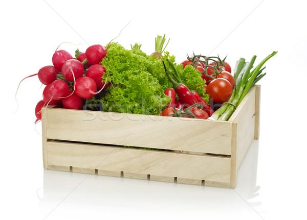 Zöldségek fából készült láda izolált fehér étel Stock fotó © goir