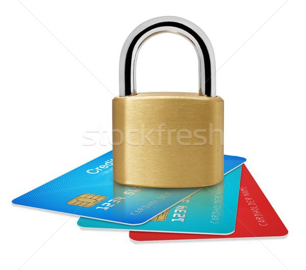Biztonságos kártyák hitelkártyák lakat izolált fehér Stock fotó © goir
