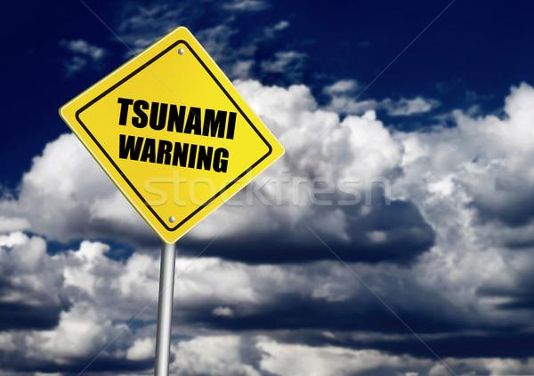 Tsunami uyarı yol işareti doğa imzalamak fırtına Stok fotoğraf © goir