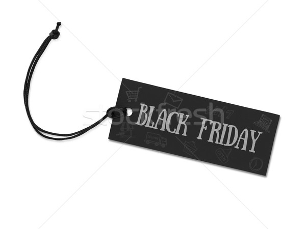 Black friday tag isolé blanche signe vente Photo stock © goir