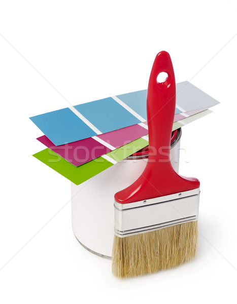 Paintbrush,color swatch and paint can Stock photo © goir