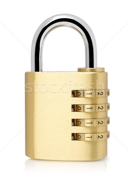 Cadenas isolé blanche métal sécurité or Photo stock © goir