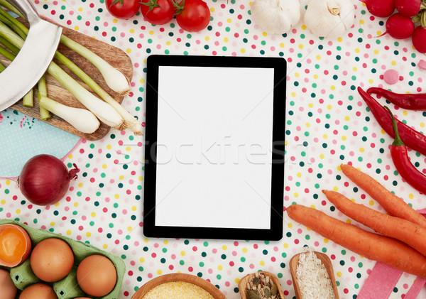 Photo stock: Numérique · comprimé · cuisson · ingrédients · pâtes · espace · de · copie