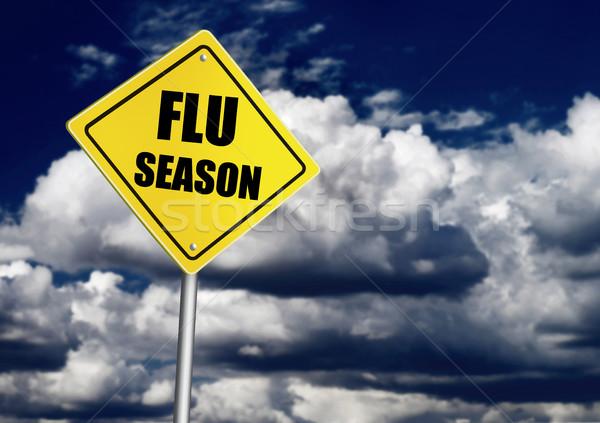 Grippe Jahreszeit Zeichen Wolke dunkel Sicherheit Stock foto © goir