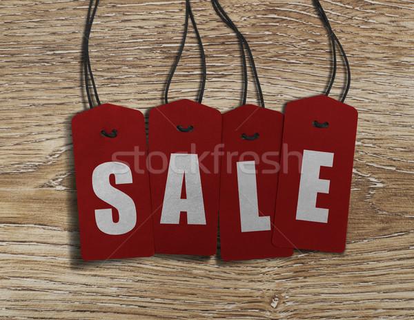 Vásár címkék fa felirat kötél címke Stock fotó © goir