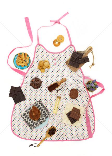 Keuken schort ingrediënten witte voedsel Stockfoto © goir