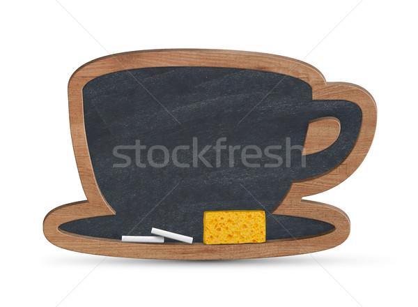 Koffiekopje Blackboard geïsoleerd witte onderwijs communicatie Stockfoto © goir