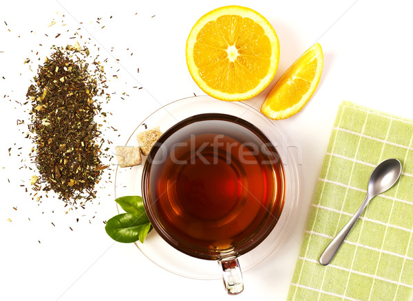 Сток-фото: Кубок · чай · таблице · оранжевый · Ломтики · изолированный