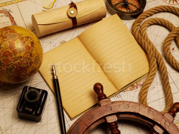Vintage tijdschrift notebook mariene uitrusting oude kaart Stockfoto © goir