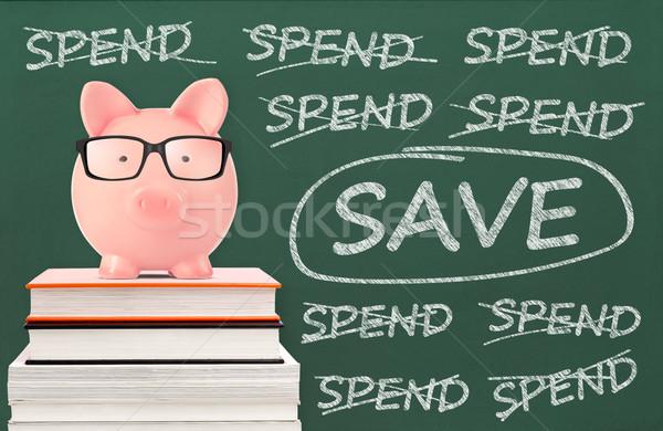 Opslaan spaarvarken bericht Blackboard onderwijs leraar Stockfoto © goir