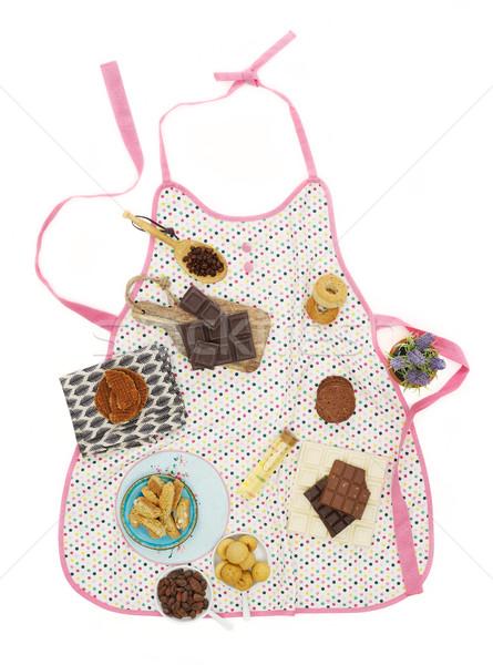 Stockfoto: Keuken · schort · ingrediënten · witte · voedsel