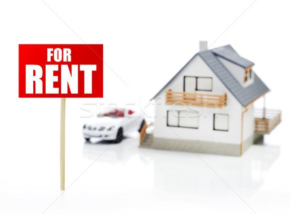 Model domu samochodu wynajem podpisania biały Zdjęcia stock © goir