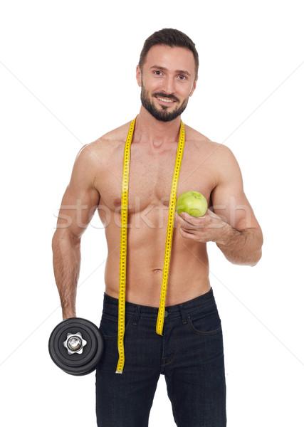 筋肉の 男 重み リンゴ 巻き尺 ストックフォト © goir