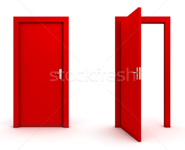 オープン 閉店 ドア 赤 白 群衆 ストックフォト © goir
