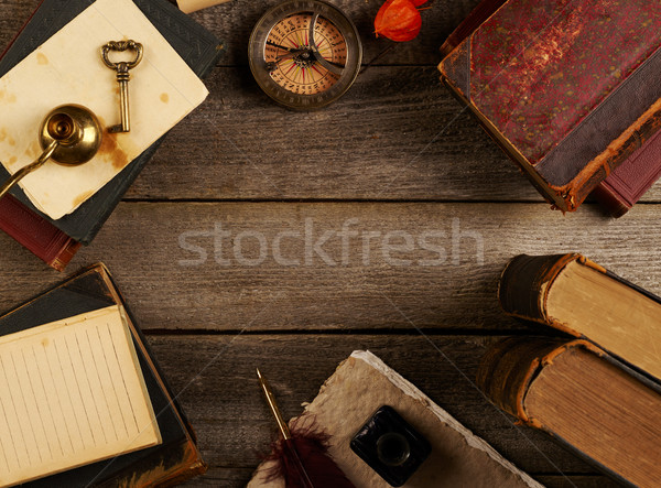 Tabeli książki edukacji piśmie skóry dokumentu Zdjęcia stock © goir