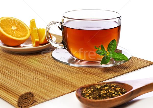Tea csésze narancs szeletek levél kanál Stock fotó © goir