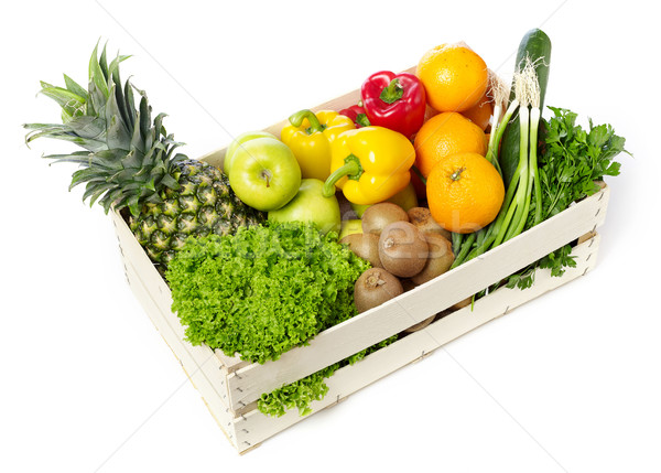 Fruits and vegetables on wooden crane Stock photo © goir