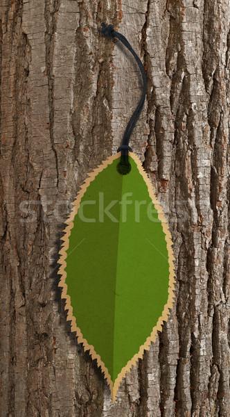 Yaprak etiket ağaç havlama kâğıt alışveriş Stok fotoğraf © goir