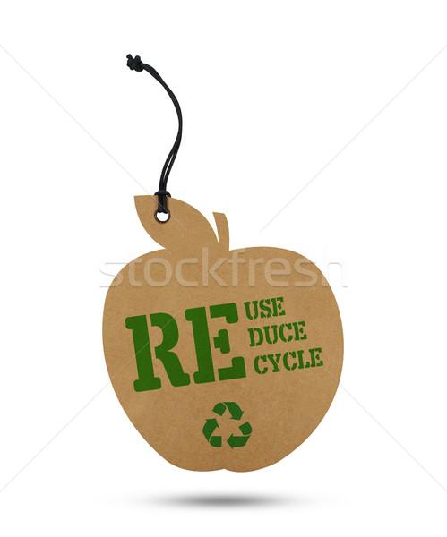 Recycleren tag geïsoleerd witte papier natuur Stockfoto © goir