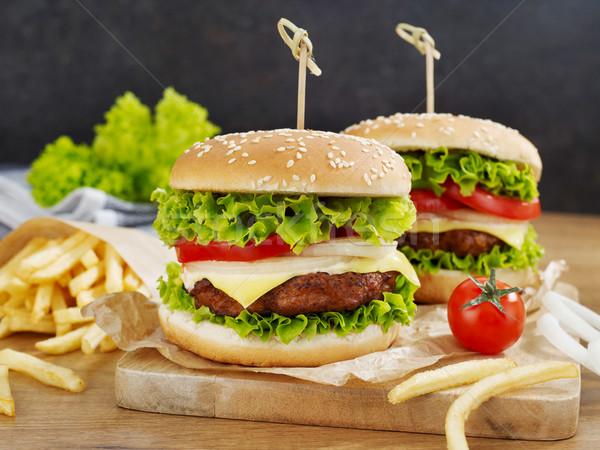 Fries ingredientes comida pão tomates vegetal Foto stock © goir