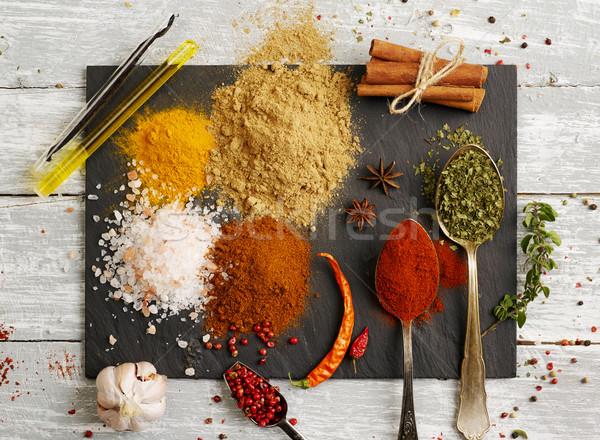 Stockfoto: Specerijen · poeder · variatie · zaad · fotografie · zout