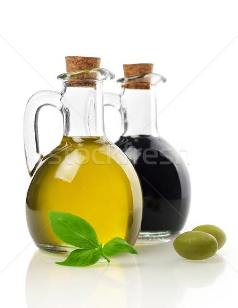 Virgin oil, vinegar, olives and basil Stock photo © goir