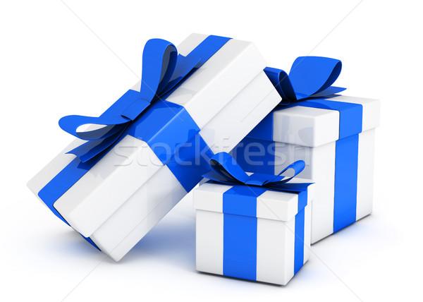 Ajándék dobozok izolált fehér csomag címke Stock fotó © goir