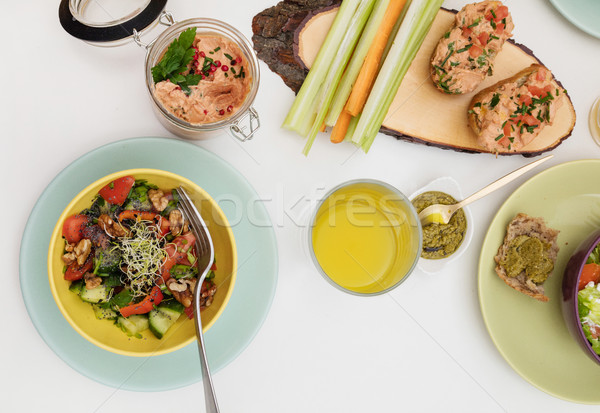 Vegan alimentaire table plaque salade manger Photo stock © goir