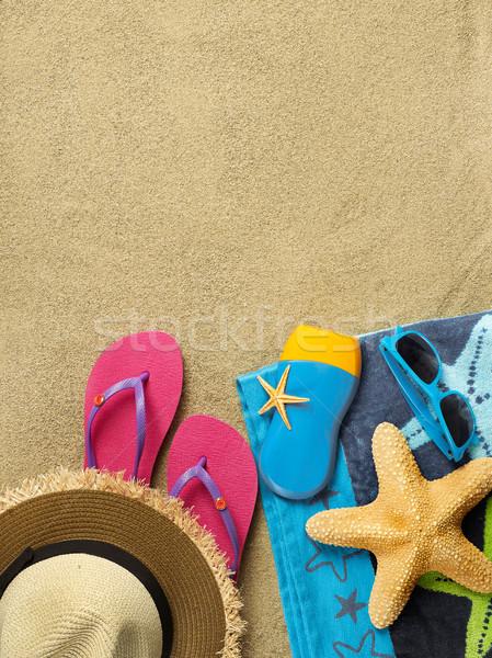 Vakantie strand exemplaar ruimte zand reizen achtergronden Stockfoto © goir