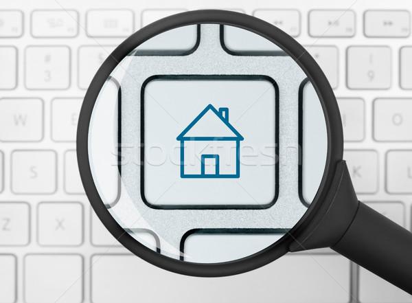 Huis icon vergrootglas computer sleutel communicatie Stockfoto © goir