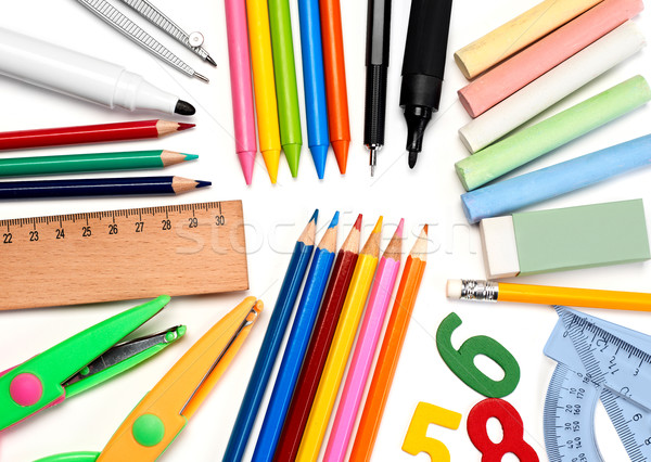 Fournitures scolaires isolé blanche école stylo couleurs Photo stock © goir