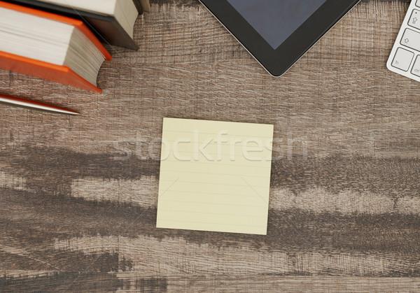 Tapadó jegyzet asztal fából készült papír könyv Stock fotó © goir