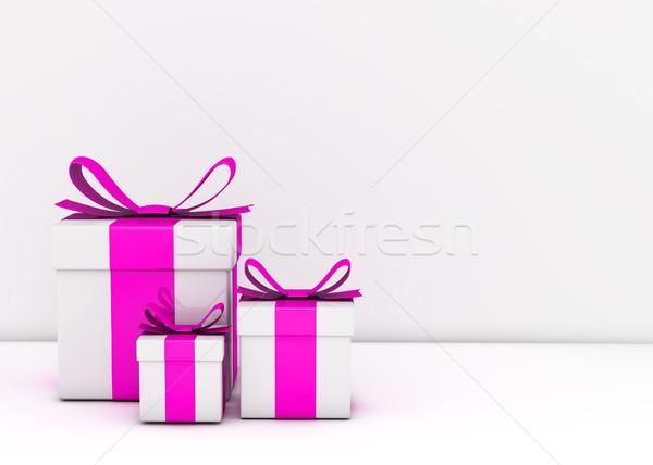 Ajándékdobozok üres fal fehér szalag csomag Stock fotó © goir