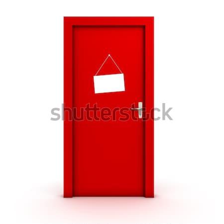 Signe porte blanche isolé modes de vie Photo stock © goir