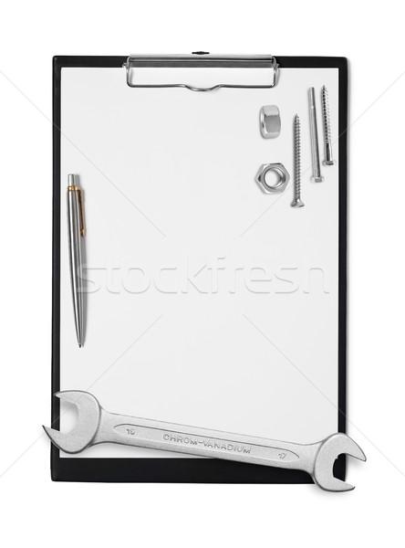 Projet presse-papiers outils stylo blanche Ouvrir la Photo stock © goir