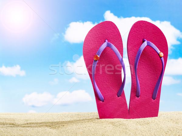 Homok égbolt tengerpart nyár utazás napos Stock fotó © goir