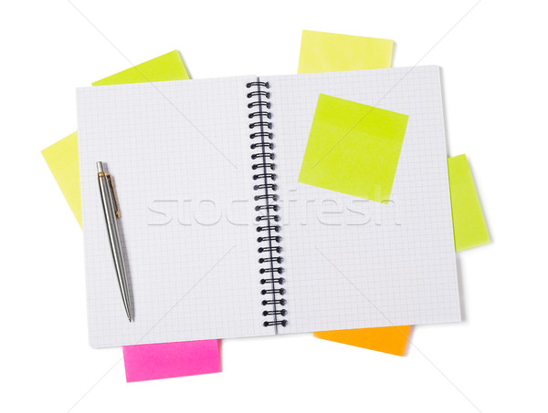 Notebook, adhesive notes and pen Stock photo © goir