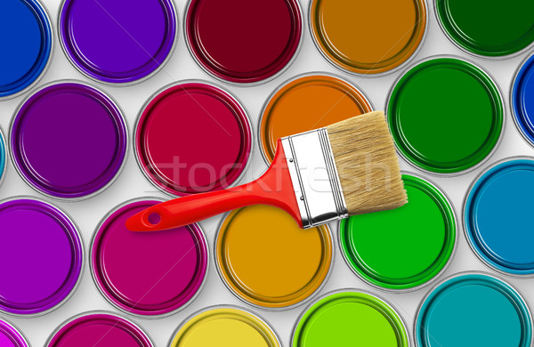 Paint brush on paint tins Stock photo © goir