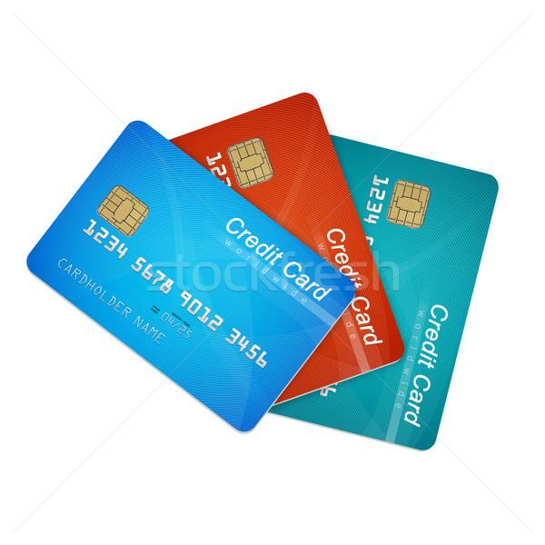 Kredi kartları yalıtılmış beyaz finanse veri kredi kartı Stok fotoğraf © goir