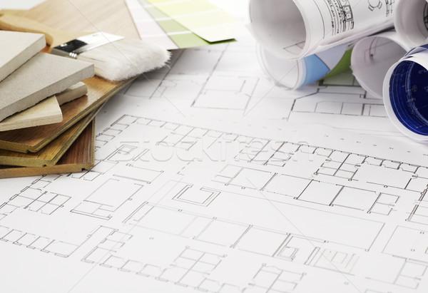 Blueprints materiais de construção escritório lápis indústria documento Foto stock © goir