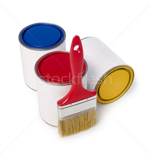 кисти краской изолированный белый контейнера можете Сток-фото © goir