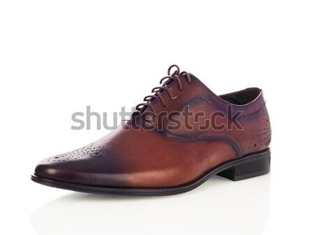 Brun hommes chaussures isolé blanche modernes Photo stock © goir