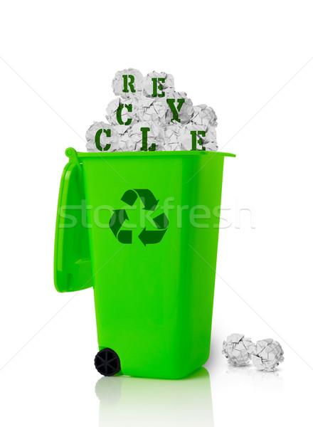 Recycle мусорное ведро изолированный белый природы очистки Сток-фото © goir