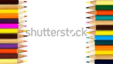 Crayons cadre blanche bois crayon Photo stock © goir