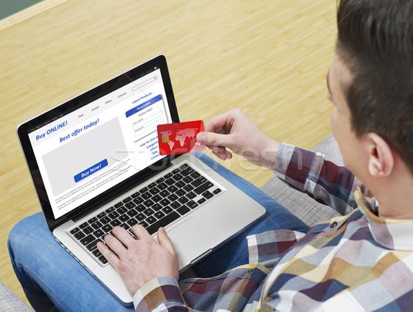 Stockfoto: Ecommerce · man · home · winkelen · online · laptop