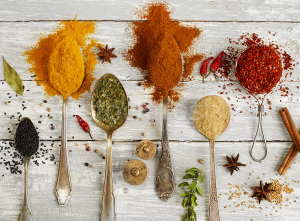 Variation of spices in spoons Stock photo © goir
