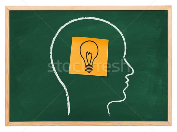 Groot idee zelfklevend merkt gloeilamp tekening Stockfoto © goir
