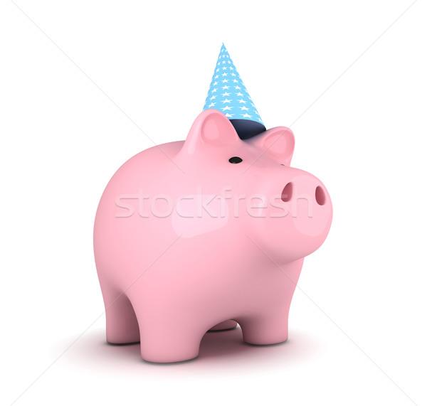 Spaarvarken partij hoed witte financieren bancaire Stockfoto © goir