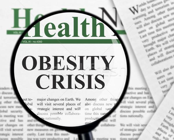Fettleibigkeit Krise Schlagzeile Lupe Papier Zeitung Stock foto © goir